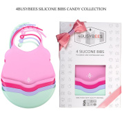 BABY SILICONE BIBS - CANDY Collection! PACK OF 4 Silicone Baby Girl Bibs - BEST Baby Girl Shower Gift, Bibs for Baby Girls, Newborns Gift- 100% Food Grade Silicone, Tested, Waterproof, Dishwasher Safe