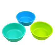 Re-Play Made in the USA 3pk Bowls for Easy Baby, Toddler, and Child Feeding - Aqua, Sky Blue, Green