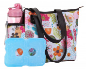 Lunch Bag Set by Dimayar Lunch Box with Ice Pack and 590ml Matching Water Bottle,Full Zipper Closure Insulated Lunch Bag Lunch Boxes for Adults Flora Lunch Tote for Lunch