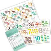 Fawn Hill Co Disposable Placemats for Children - Table Top Design with Adhesive Sticky Backing - 60 Count - Educational Animal Design