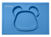 Aria Baby Silicone Baby Feeding Placemat Bear All In 1 Plate | BPA, PVC & Phthalate Free Dinner Mat With Non Slip Suction Design | For Infants, Babies & Toddlers, Food, Table, Outdoors & More