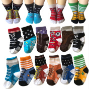 Todder 6 Pairs Non Sikd Shoe Socks Infant Baby Boy Anti Slip Cotton Cosy Ankle Low Cut Footsocks Sneakers Crew Walker Socks With Grips For 12-24 Months Kakalu