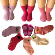 Kakalu 5 Pairs 12-36 Months Baby Girl Upside Down Cartoon Anti-Slip Cosy Ankle Cotton Socks Toddler Walker Non Skid Sneakers Footsocks Shoe Socks Foot Cover With Grips