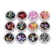 DDLBiz 12 Colours Nail Art Tips Stickers Decal Acrylic 3D Glitter Sequins Nail Art Design