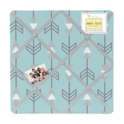Turquoise Blue and Grey Earth and Sky Arrow Print Fabric Memory/Memo Photo Bulletin Board