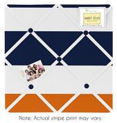 Sweet Jojo Designs Navy Blue, Orange and White Fabric Memory/Memo Photo Bulletin Board for Stripe Collection