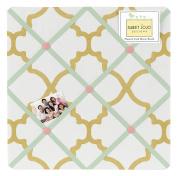 Ava Mint Coral White and Gold Trellis Fabric Memory/Memo Photo Bulletin Board