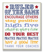 The Kids Room by Stupell Rules of the Game Blue and Red Typography Rectangle Wall Plaque