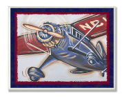 The Kids Room by Stupell Blue and Red Vintage Plane Rectangle Wall Plaque