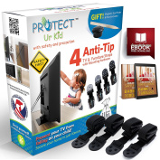 Flat Screen TV & Furniture Anti tip Safety Wall Anchor Straps, Earthquake Safe, Child & Baby Proof, with Magnetic Stud Finder & Mounting Hardware, (4 Pack) by Protect Ur Kid