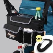 CELEMOON Stroller Organiser Bag - Premium Quality Stroller Fits All Baby Strollers - BONUS Handy Stroller Hook, Black