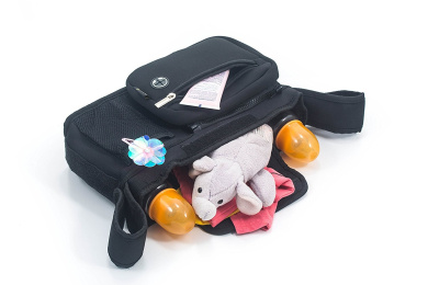 2 in 1 Stroller Organiser and Baby Bag - 5 Compartments, Lots of space, Light and Durable (Black)