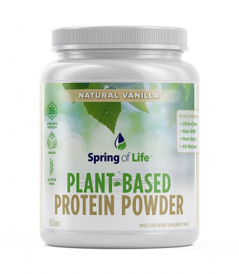 Spring Of Life Plant-Based Protein Powder, Vegan, Non-GMO, Hypoallergenic, Vanilla, 853 Grammes