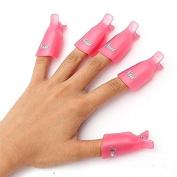VNDEFUL 10Pcs Pink Professional Plastic Acrylic Nail Art Soak Off Cap Clip Uv Gel Polish Remover Wrap Cleaner Clip Cap Tool