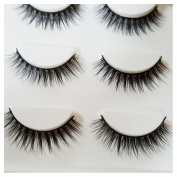 Bluelans 3 Pairs Natural Soft Eye Lashes Makeup Handmade Thick Fake False Eyelashes
