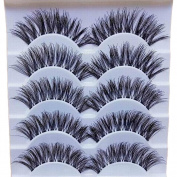 Bluelans 5 Pairs Long Cross False Eyelashes Makeup Natural Thick Black Fake Eye Lashes Extension Makeup