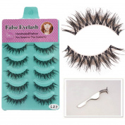Lookathot 5 Pairs False Eyelashes Eye Lashes with 1 Free Eyelash Tweezers Aid Stainless Steel Clip