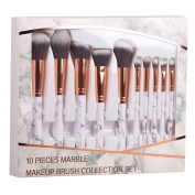 Coshine 10pcs/set Professional Marble Makeup Brushes Collection Set, For Loose Powder, Contour, Shade, Highlighter, Eyeshadow and Foundation