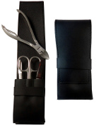 4-Piece Black Nappa Genuine Leather Men's Manicure and Pedicure Set -Tenartis 368 Made in Italy