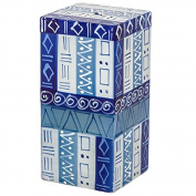 Kapula Cube Candle ' Blue and White Design ' 7 x 7 x 15 cm