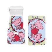 Bearbae 3 Piece Bathromm Mat Set Cute Pig Pattern Decor Door Mat Pedestal Rug Toilet Cover Absorbent Anti-slip Mats