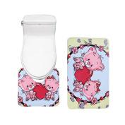 Bearbae 2 Piece Bathromm Mat Set Cute Pig Pattern Decor Door Mat Pedestal Rug Anti-slip Mats