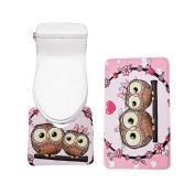 Bearbae 2 Piece Bathroom Mat Set Lovely Owl Pattern