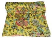 Indian Handmade Floral Print Queen Kantha Quilt Throw Blanket Gudari Vintage Kantha Bedspread Throw
