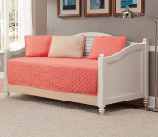 """Mk Collection 5pc Modern Bedspread Day Bed Solid Embossed Reversible Coral/khaki""""Beige"""" New"""