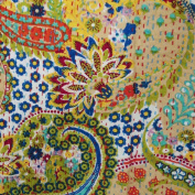 Indian Handmade Black Paisley Print Queen Cotton Kantha Quilt Bedspread Blaket Throw Gudari