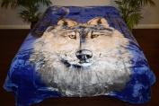 Wolf Blue NIght Luxury Super Soft Medium Weight QUEEN size Mink Blanket 1ply