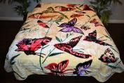 Butterfly Butterflies Luxury Super Soft Medium Weight QUEEN size Mink Blanket 1ply