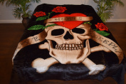 Love Hurts Crossbones Skull Skeleton Luxury Super Soft Medium Weight QUEEN size Mink Blanket 1ply