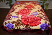Maroon Red Floral Flowers Design Luxury Super Soft Medium Weight QUEEN size Mink Blanket 1ply