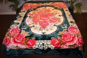 Green Floral Flowers Design Luxury Super Soft Medium Weight QUEEN size Mink Blanket 1ply