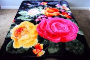 Multicoloured Roses Floral Flowers Design Luxury Super Soft Medium Weight QUEEN size Mink Blanket 1ply