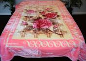 Pink Floral Flowers Design Luxury Super Soft Medium Weight QUEEN size Mink Blanket 1ply