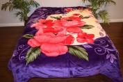 Purple & Pink Floral Flowers Design Luxury Super Soft Medium Weight QUEEN size Mink Blanket 1ply