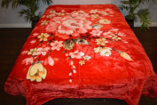 Red Floral Flowers Design Luxury Super Soft Medium Weight QUEEN size Mink Blanket 1ply