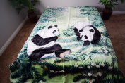 Pandas Jungle Green Luxury Super Soft Medium Weight QUEEN size Mink Blanket 1ply