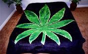 Green Marijuana Cannibis Leaf Luxury Super Soft Medium Weight QUEEN size Mink Blanket 1ply