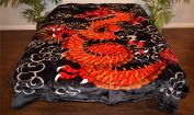 Red Oriental Chinese Dragon Luxury Super Soft Medium Weight QUEEN size Mink Blanket 1ply