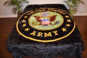 United States Army Logo Black Luxury Super Soft Medium Weight QUEEN size Mink Blanket 1ply