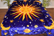 Outerspace Cosmo Sun Moon Stars Blue Luxury Super Soft Medium Weight QUEEN size Mink Blanket 1ply