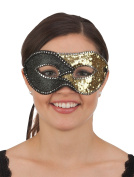 Jacobson Hat Company Sequin & Glitter Mask, Black/Gold