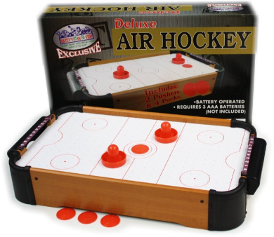 Matty's Toy Stop Deluxe Wooden Mini Table Top Air Hockey Game with 4 Pucks & 2 Pushers