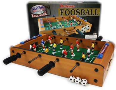 Matty's Toy Stop Deluxe Wooden Mini Table Top Foosball Game with 4 Soccer Balls