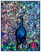 A Vivid Peacock inspired by Louis Comfort Tiffany Counted Cross Stitch Pattern