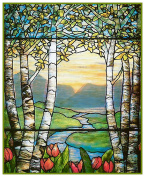 Tulip Flowers and Birch Trees detail inspired by Louis Comfort Tiffany Counted Cross Stitch Pattern