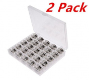 50 Pieces Metal Sewing Machine Bobbins with Case for Brother Singer Janome Kenmorev
